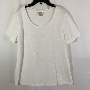Christopher and Banks White Sequin Top